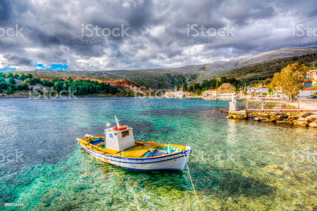 Fishing boat in Chios Island, Greece stock photo