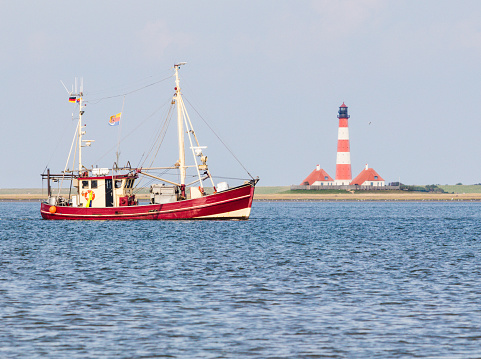 Fishing boat in front of Westerhever, Germany