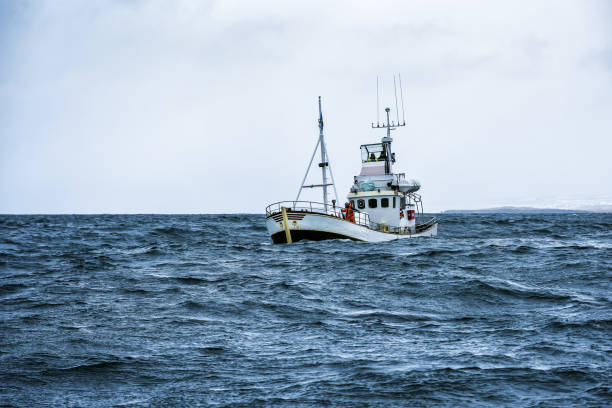 fishing boat in open ocean stock photo