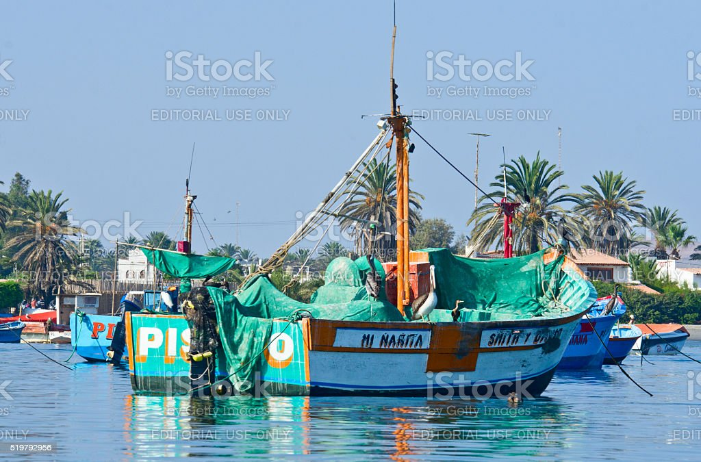 Fishing boat in Paracas national park. Peru stock photo