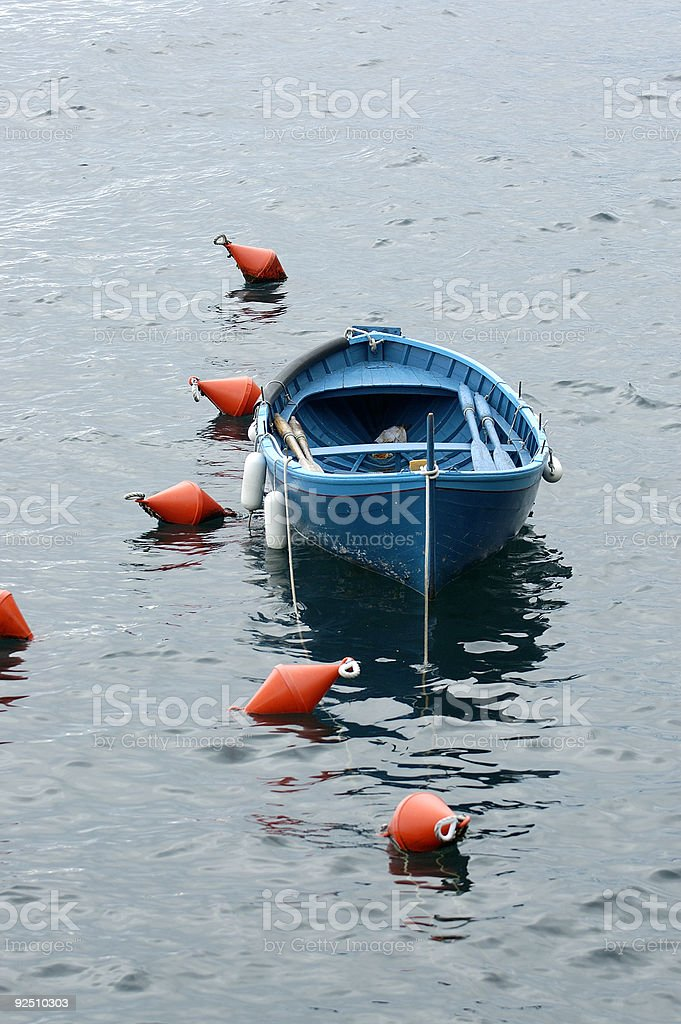 Fishing boat in Riomaggiore, Italy royalty-free stock photo