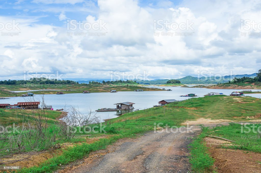 Fishing Boat In River , ping river stock photo