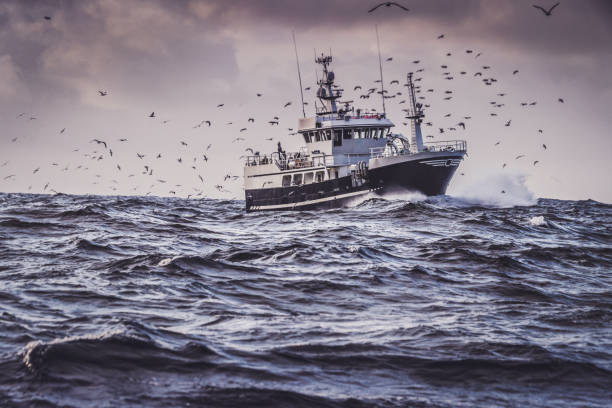 Fishing boat in rough North Sea stock photo