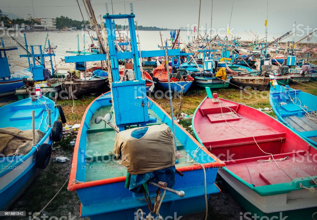 Fishing boat is out fishing. Fishermen stock photo