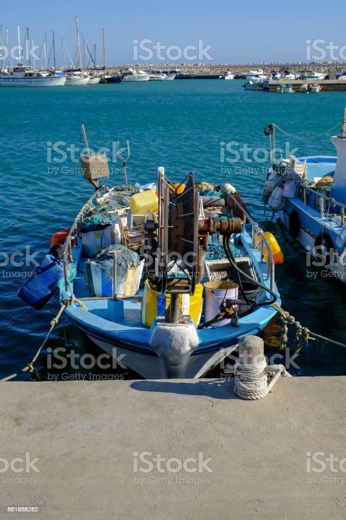 Fishing boat moored at Zygi, Cyprus stock photo