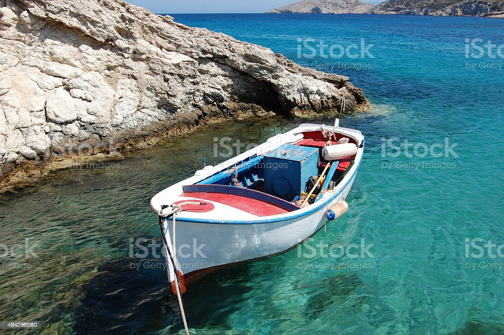 Fishing Boat Moored in Mediterranean Sea, Greece stock photo