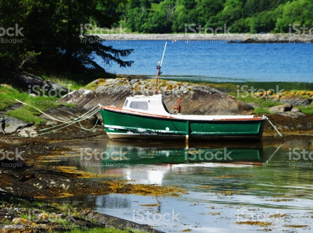 Fishing Boat moored on Loch Linnhe, Scotland, UK stock photo