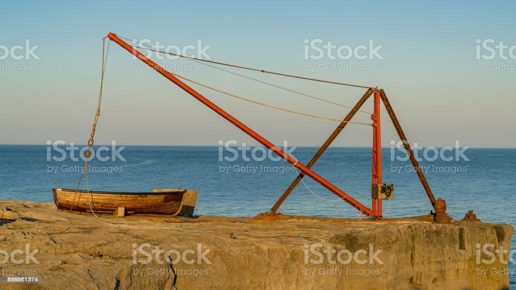 Fishing boat near Portland Bill Lighthouse, Jurassic Coast, Dorset, UK stock photo