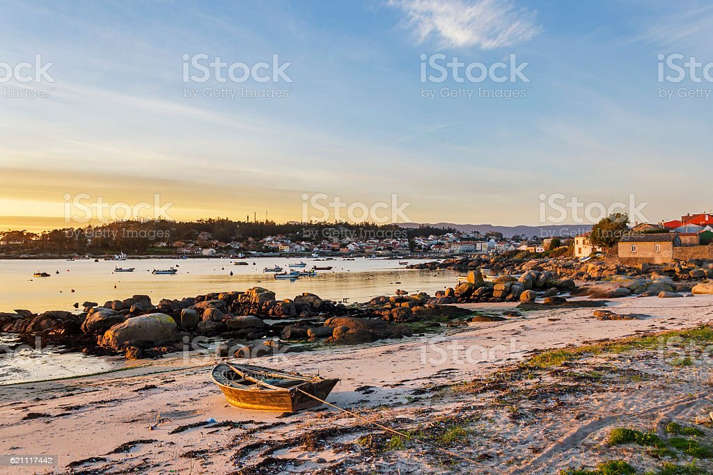 Fishing boat on Abilleira beach royalty-free stock photo