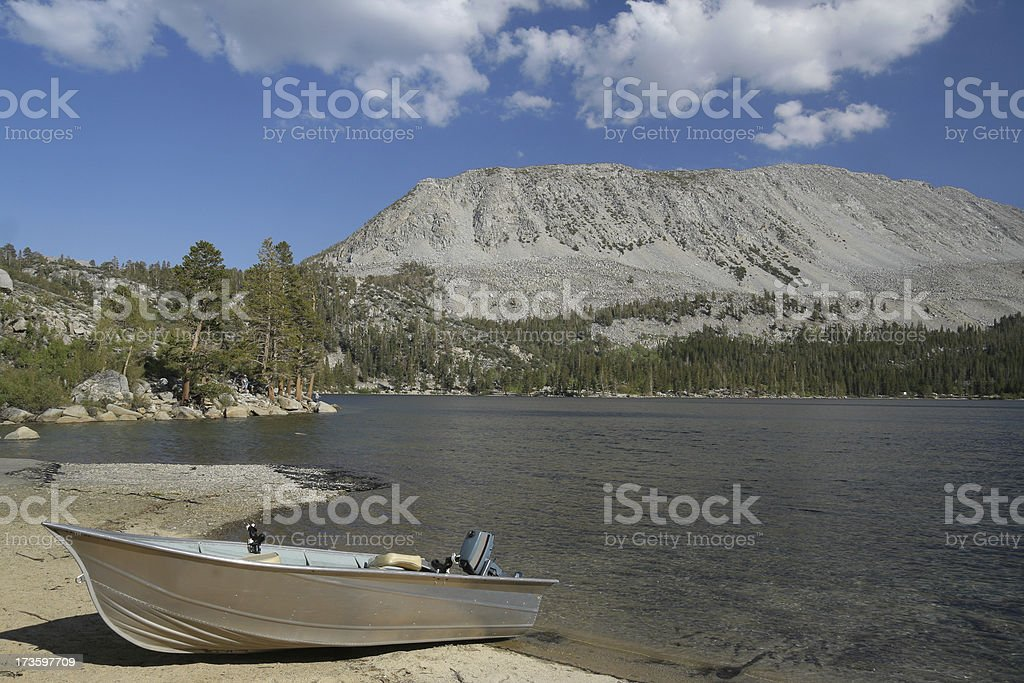Fishing boat on Lake stock photo