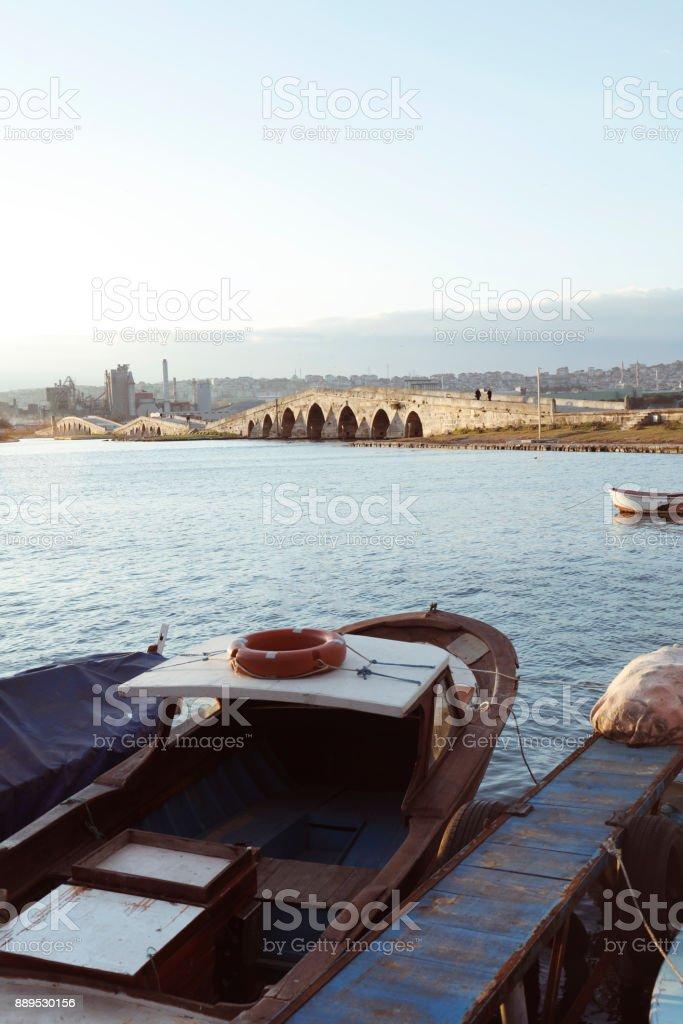 Fishing boat on sea stock photo