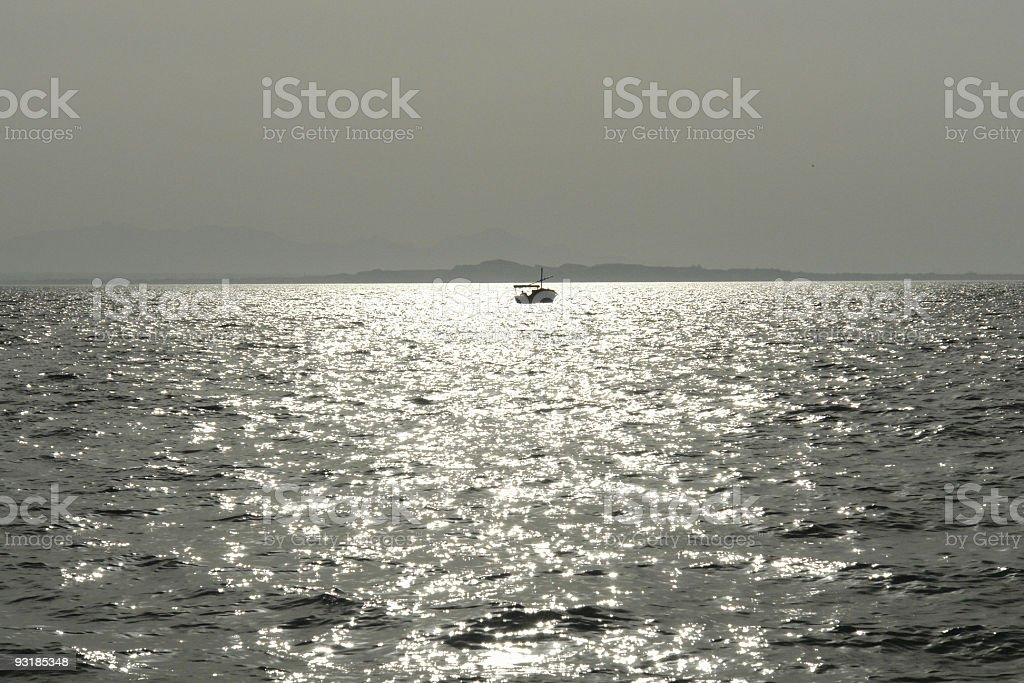 Fishing Boat on Silver Seas, Hurghada, Red Sea, Egypt royalty-free stock photo