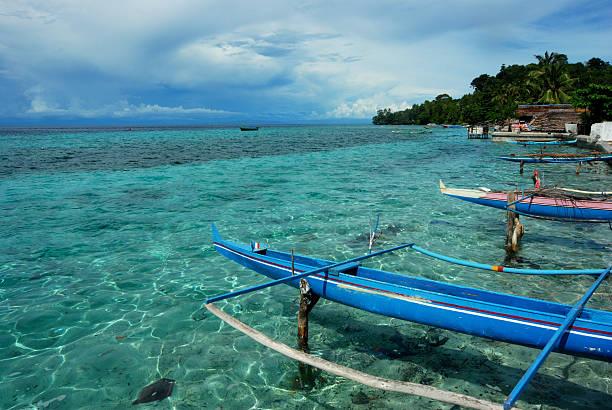 Fishing boat on stilts, Indonesia stock photo