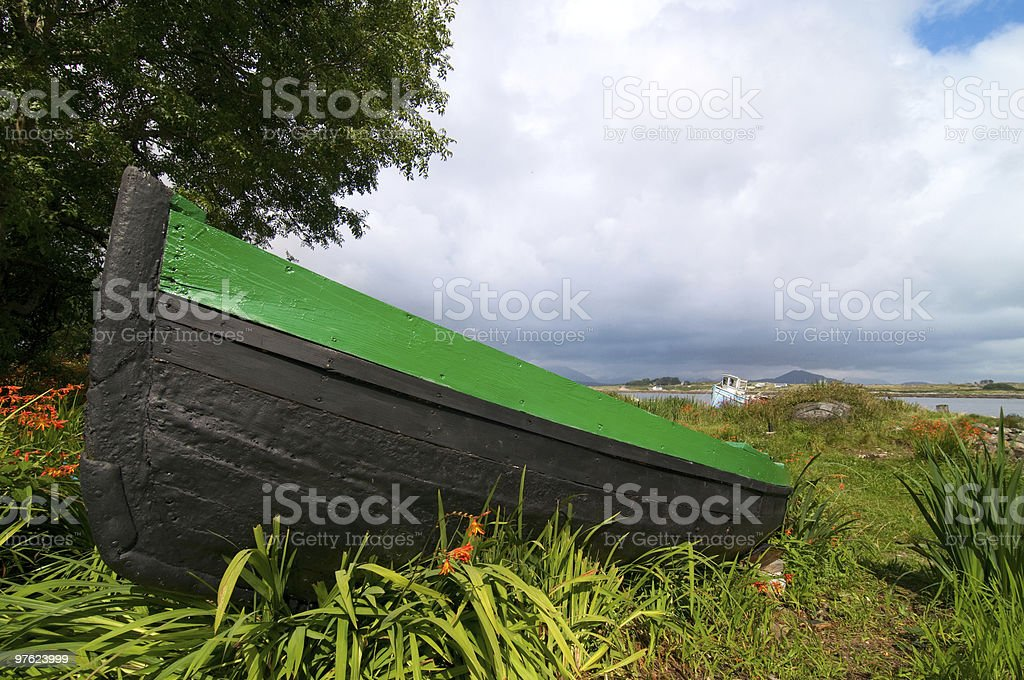 Fishing boat on the dry in Connemara royalty-free stock photo