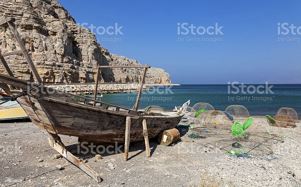 Fishing boat on the way to Musandam stock photo