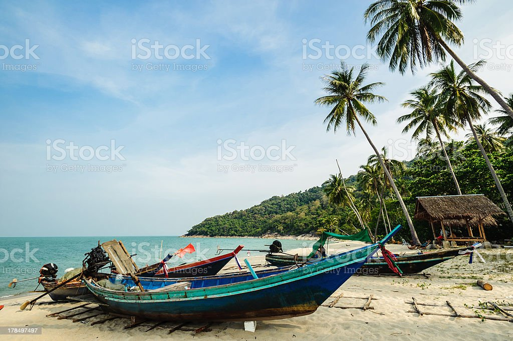 Fishing boat park seaside royalty-free stock photo