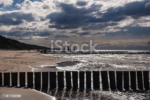 View of the Baltic seashore during cloudy day.
