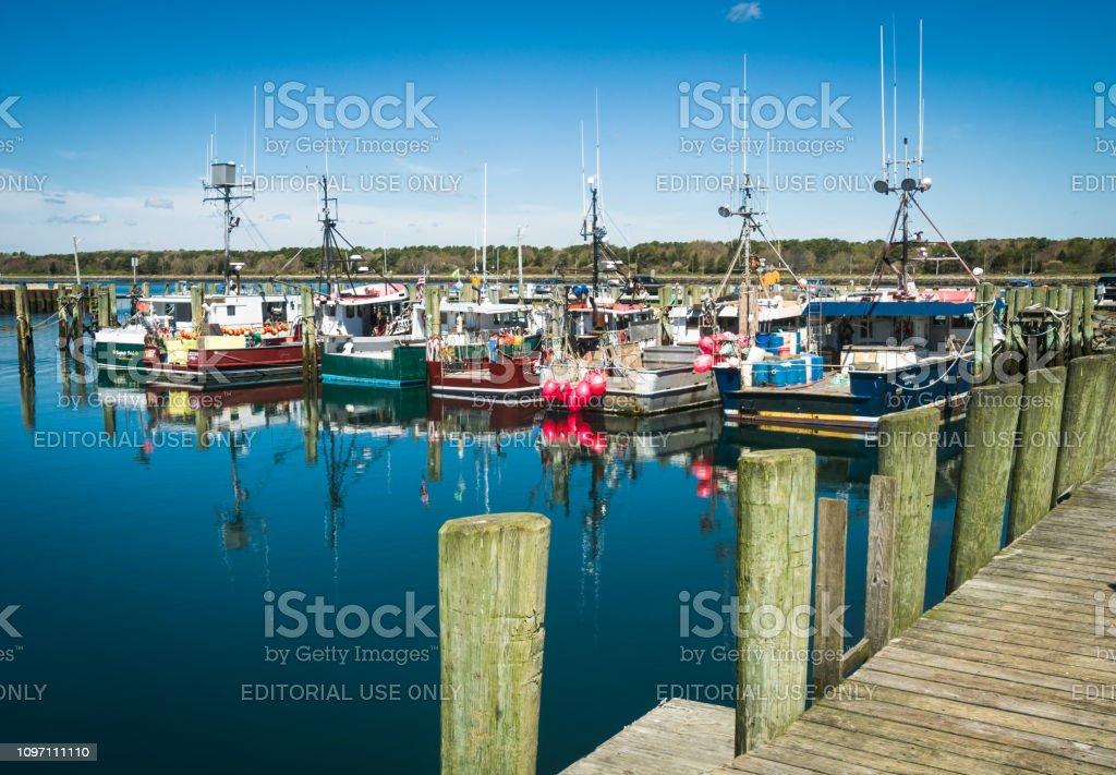Fishing Boat Reflections stock photo