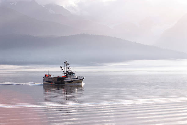 fishing boat sailing through a landscape with mountains  - fishing boat stock pictures, royalty-free photos & images