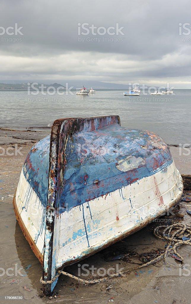 Fishing boat upside down stock photo
