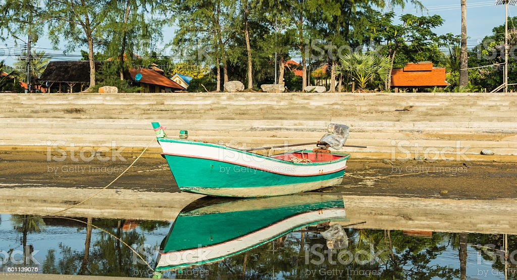 fishing boat used as a vehicle for finding fish. stock photo