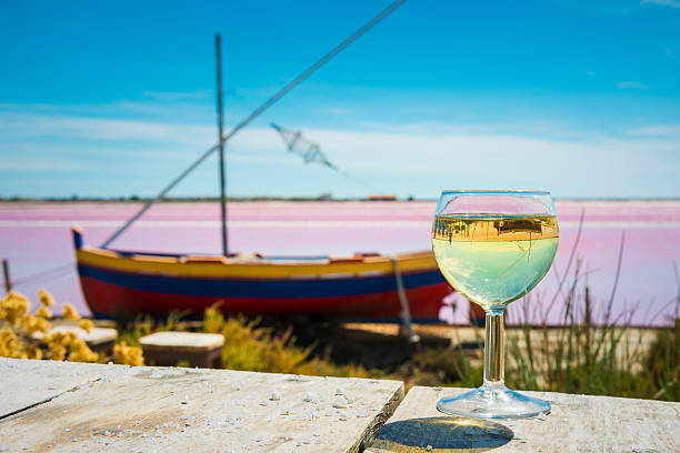 fishing boat, white wine and saline in France – Foto