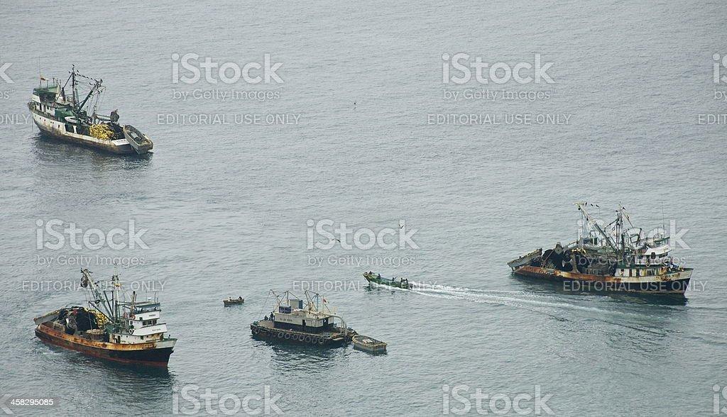 Fishing boats anchored off the coast of Ecuador royalty-free stock photo