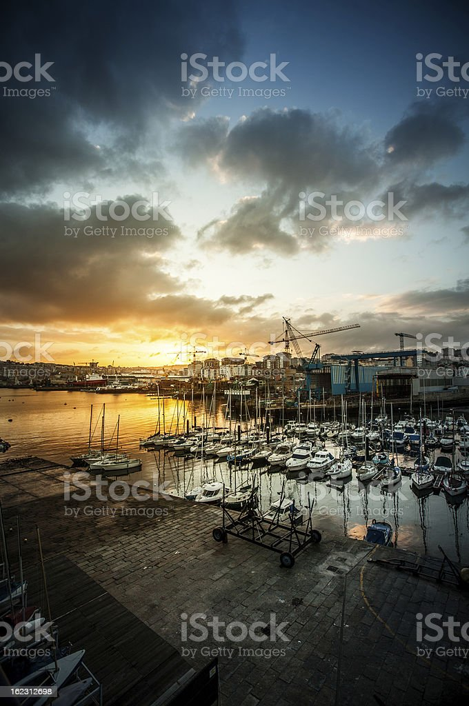Fishing boats and yachts at the Harbor of Vigo, Spain royalty-free stock photo