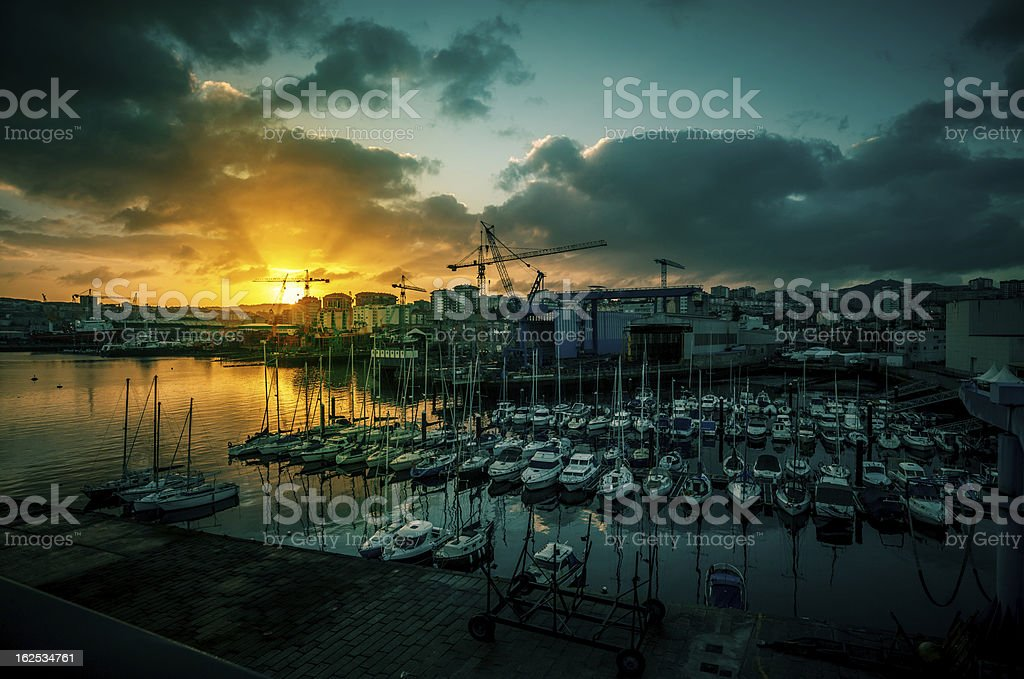Fishing boats and yachts at the Harbor of Vigo, Spain stock photo