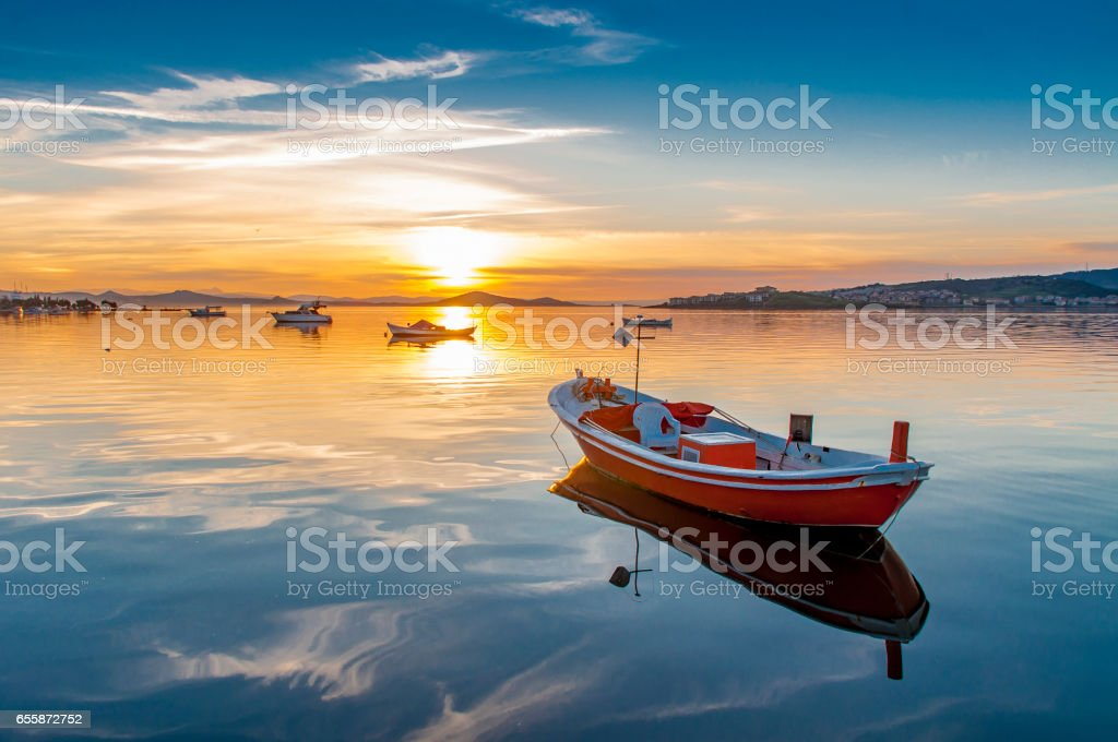 Fishing boats at Aegean Sea in Ayvalik Town of Turkey stock photo