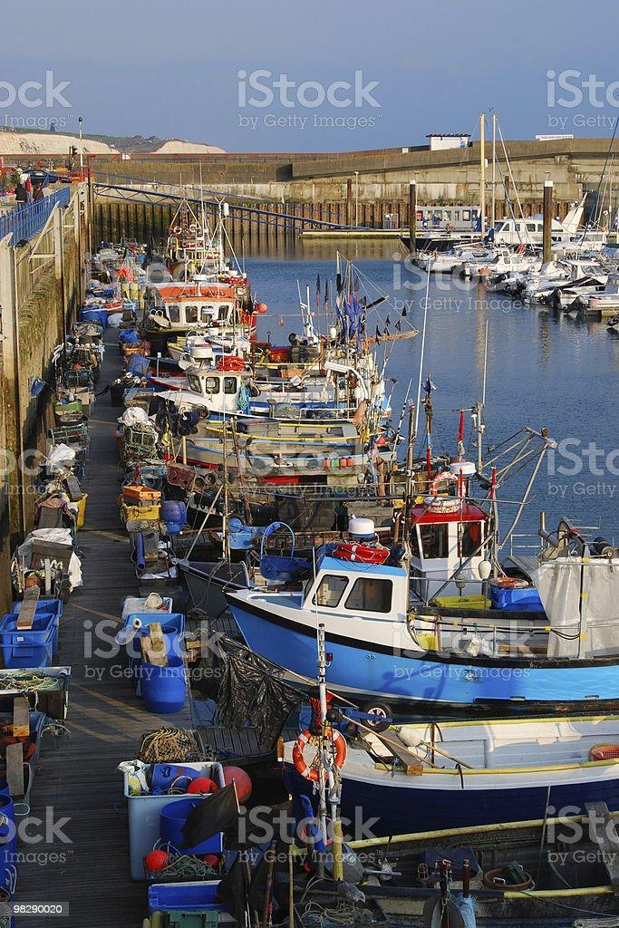Fishing boats at Brighton Marina, East Sussex, England royalty-free stock photo