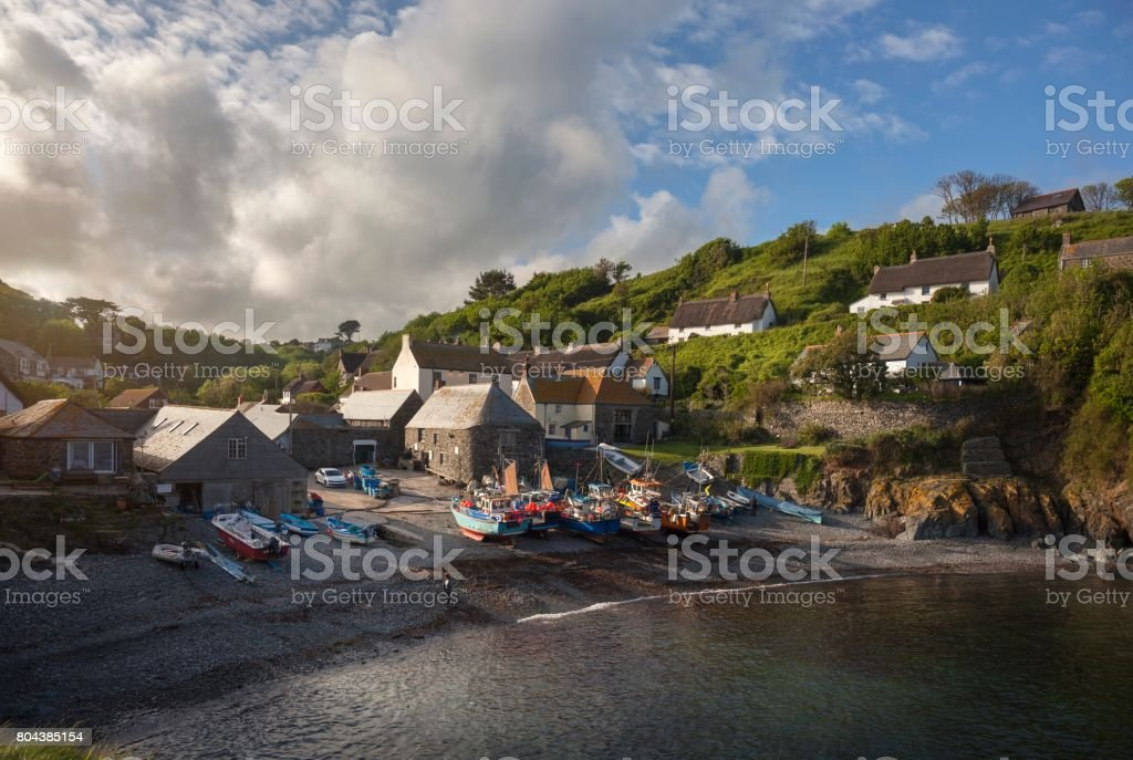 Fishing boats at Cadgwith Cove, Cornwall, England stock photo