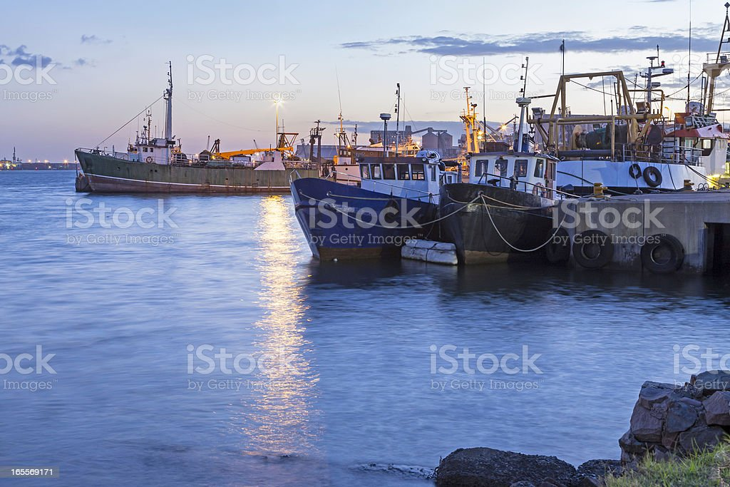 Fishing Boats at Durban harbour stock photo