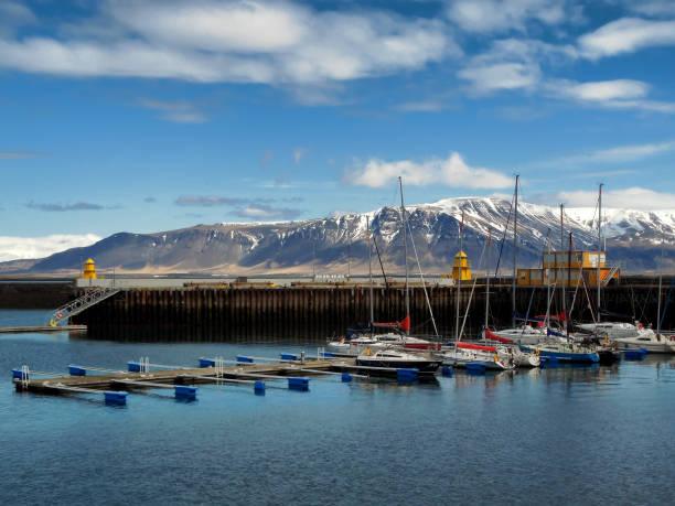 Fishing Boats at Faxa Bay Harbor, in Reykjavik Iceland stock photo
