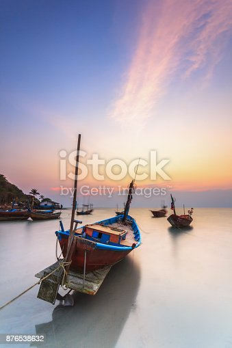 istock fishing boats at fisherman village with nice sky 876538632