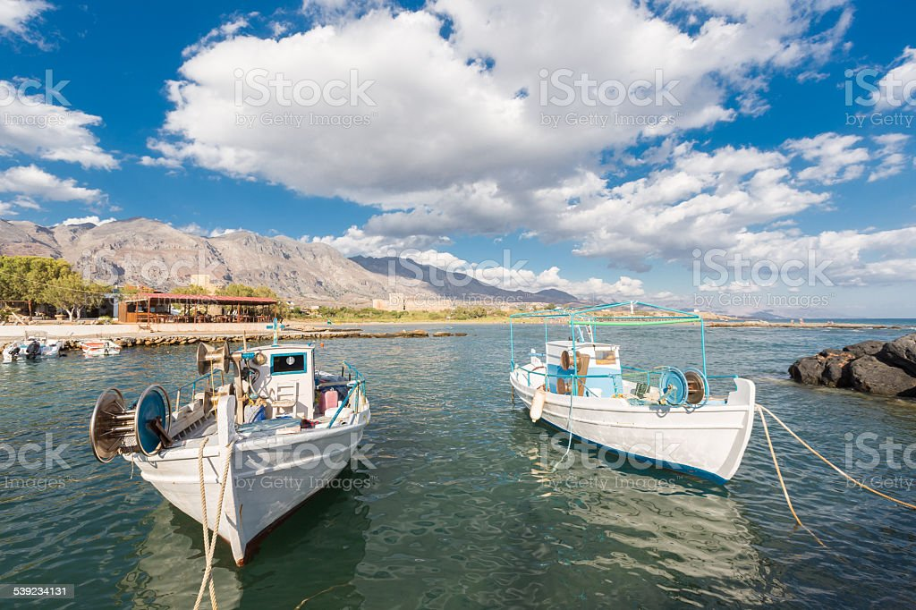 Fishing boats at Frangokastello, Greece royalty-free stock photo