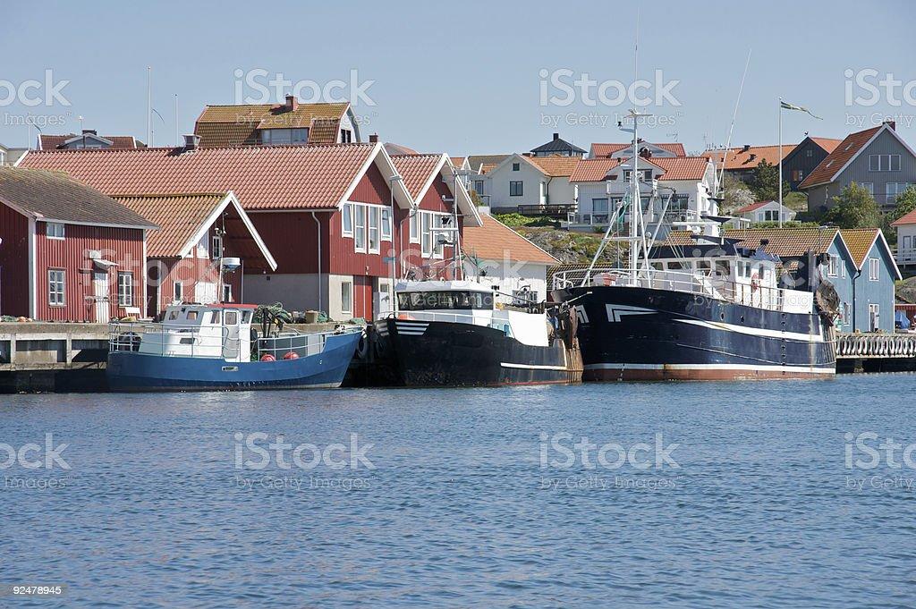 fishing boats at harbor royalty-free stock photo