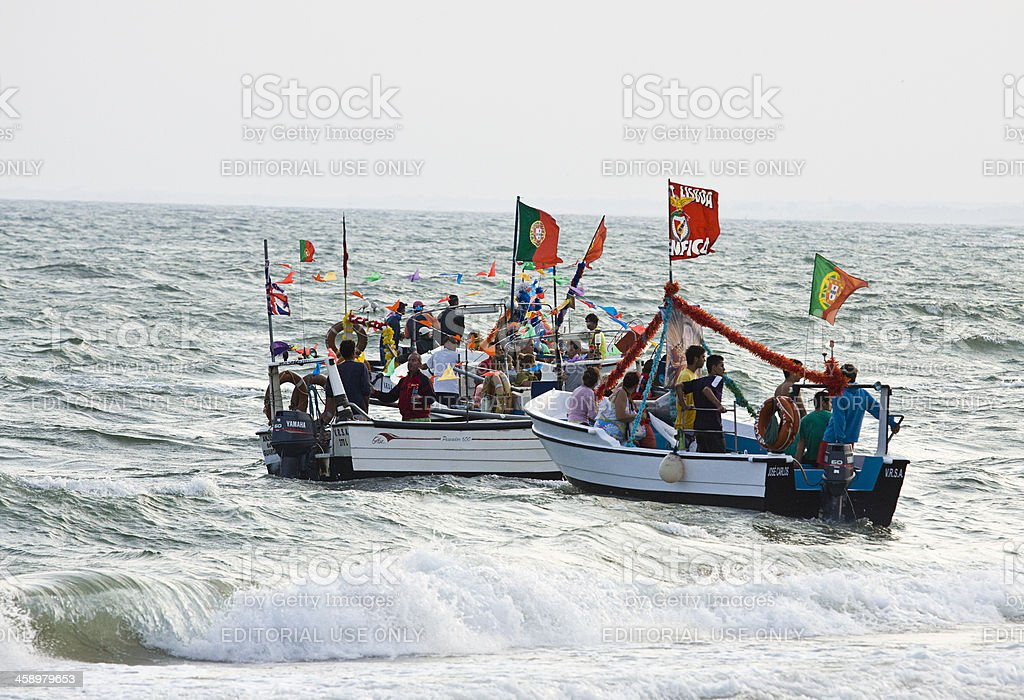 Fishing boats at Monte Gordo, Portugal. royalty-free stock photo