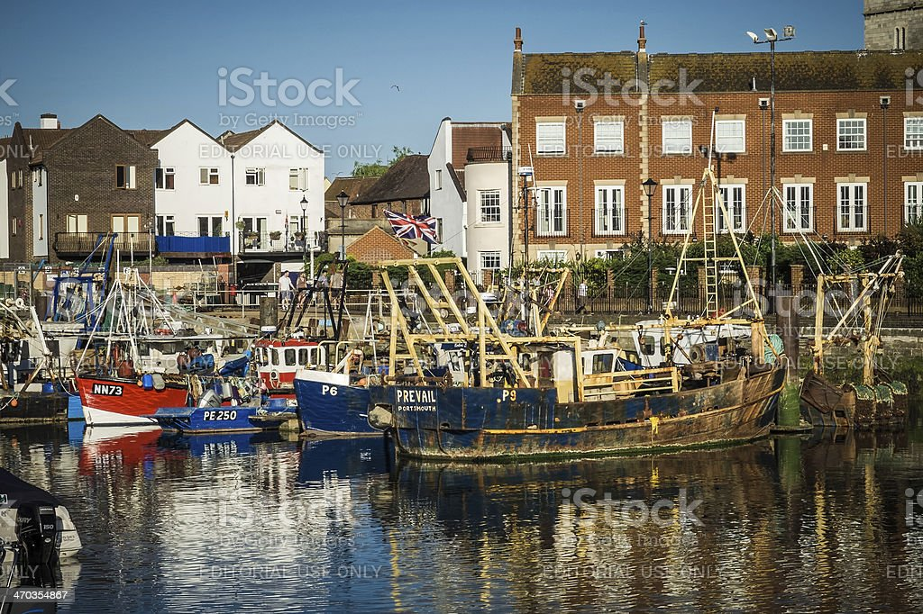 Fishing boats at Old Portsmouth's Camber Quay, England stock photo