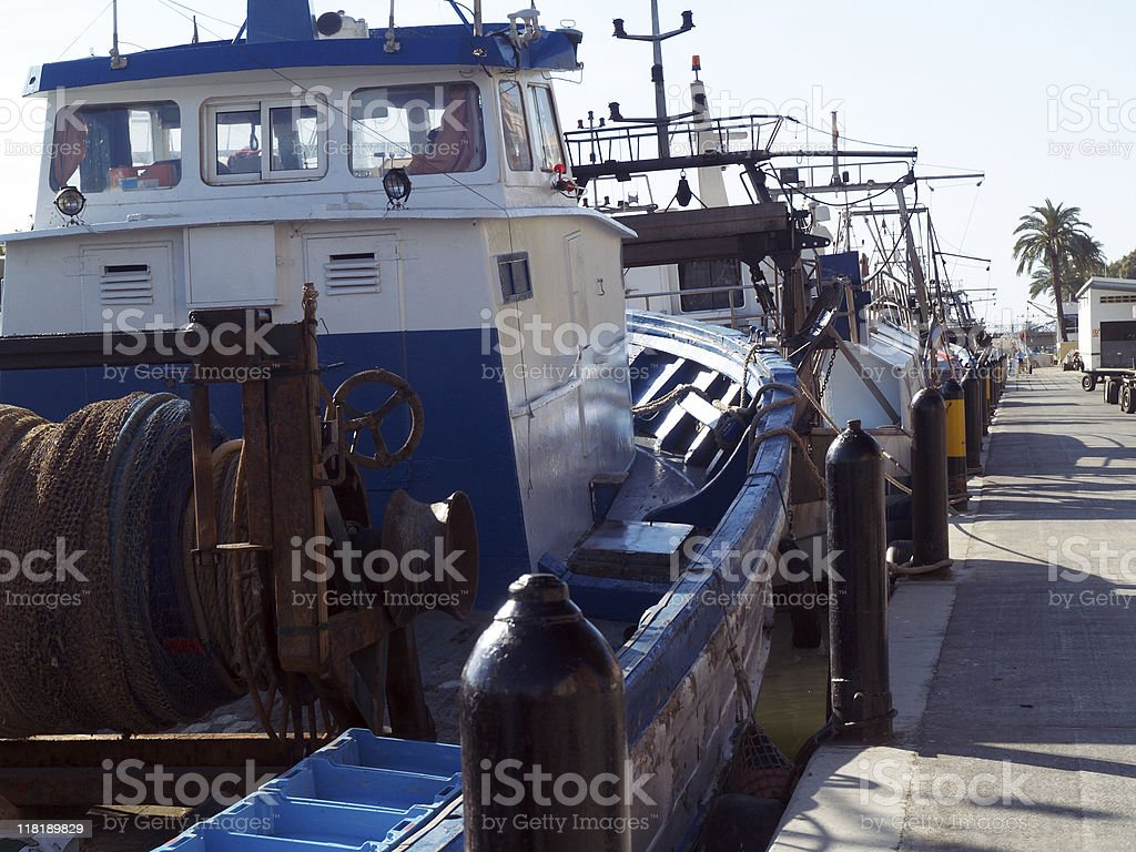 Fishing boats at pier. royalty-free stock photo