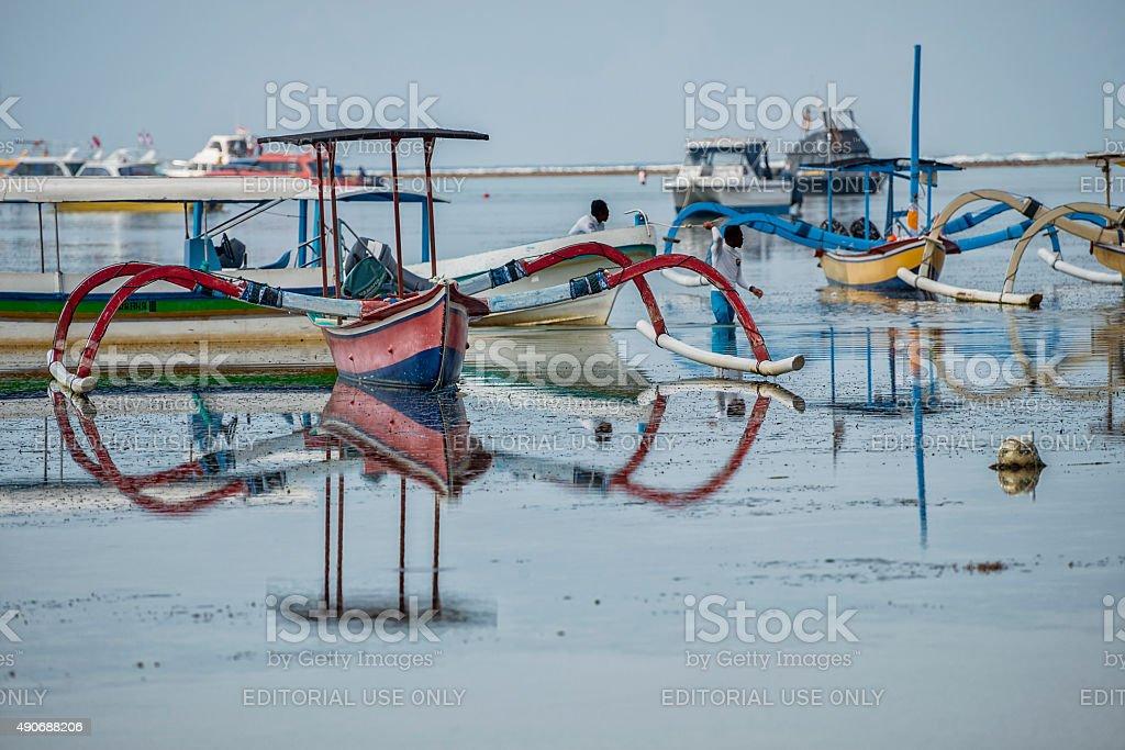 Fishing Boats at Sanur Beach Bali stock photo