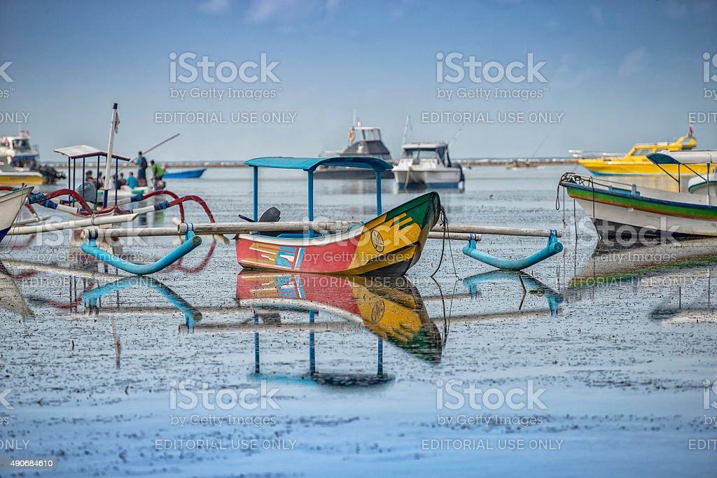 Fishing Boats at Sanur stock photo