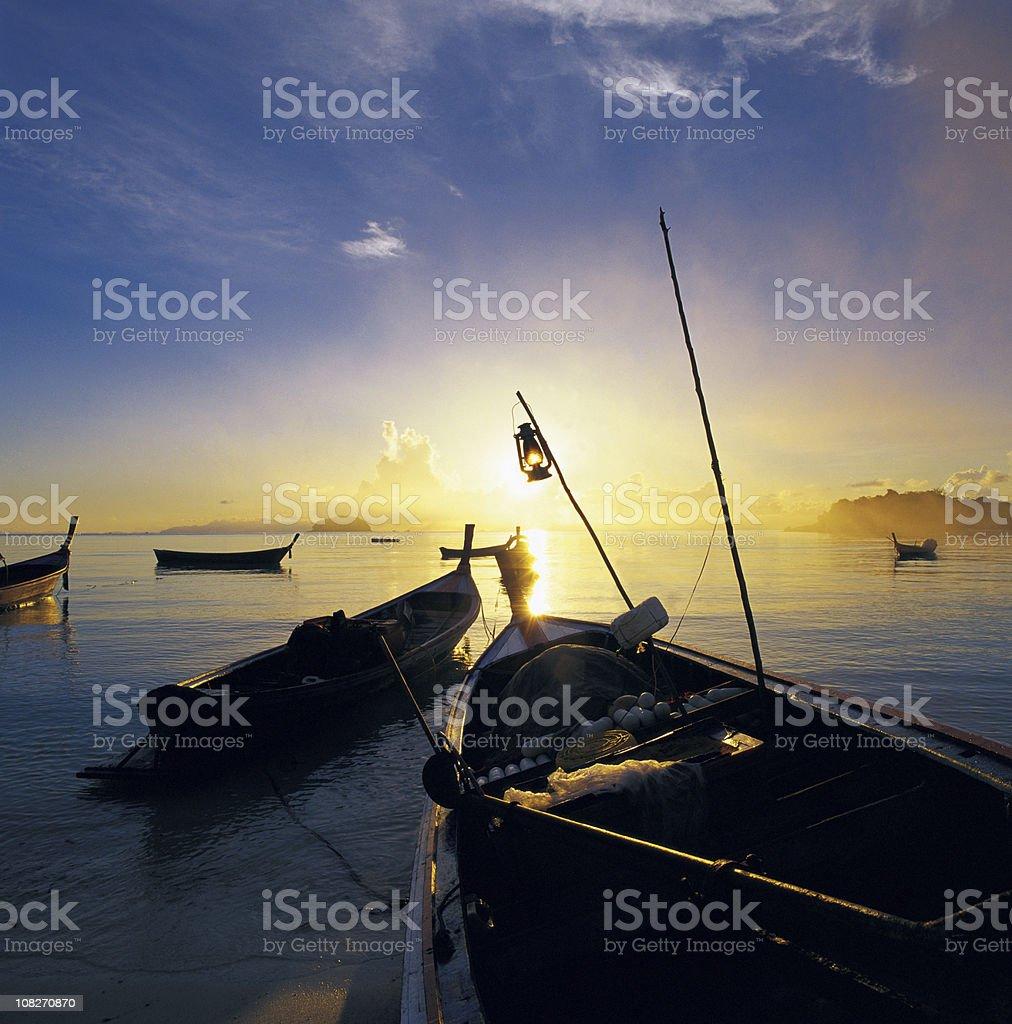 Fishing boats at sunrise. royalty-free stock photo