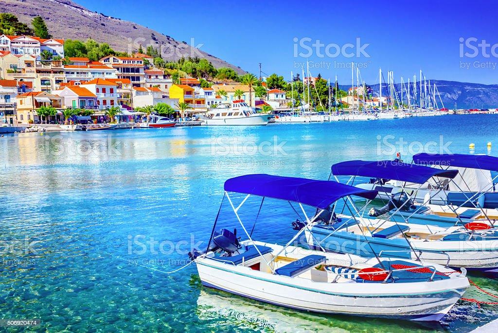 Fishing boats at the coast of Kefalonia, Greece stock photo