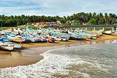 Fishing boats at Vizhinjam harbor, Kovalam, Kerala, India