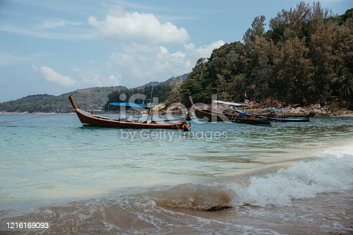Fishing boats. Boats are in the bay. Thailand.