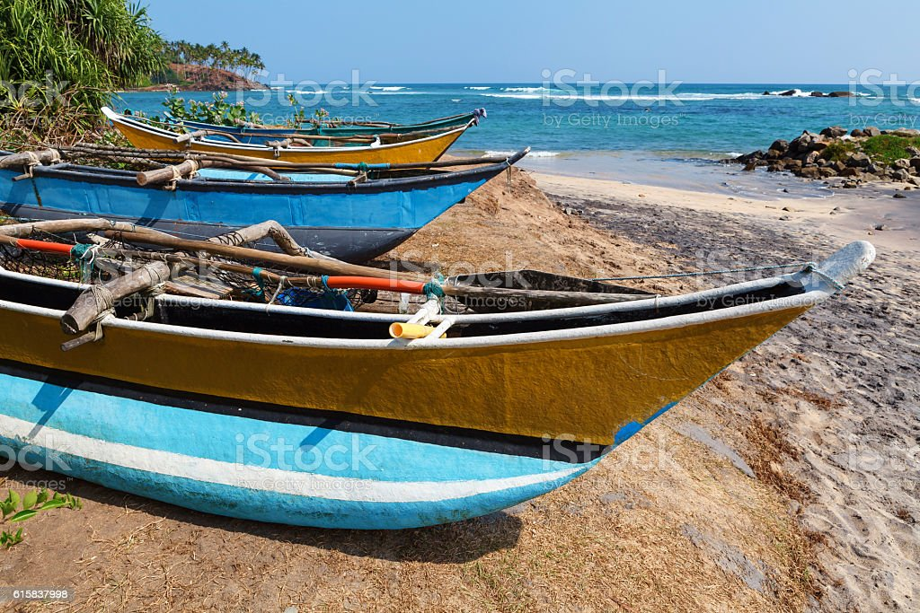 Fishing boats by the Indian Ocean, Mirissa, Sri Lanka royalty-free stock photo