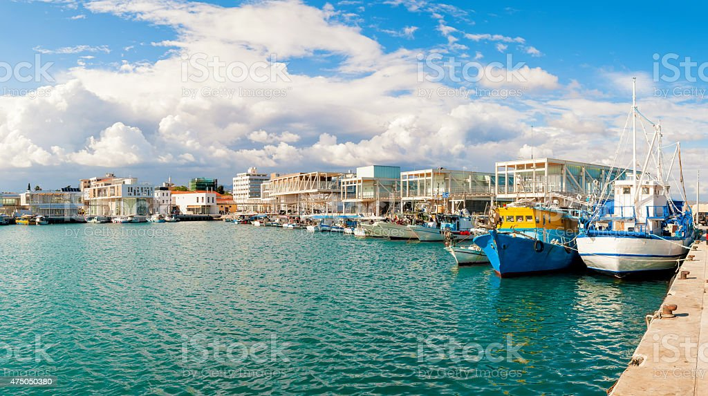 Fishing boats docked at newly constructed Limassol marina. Cyprus stock photo