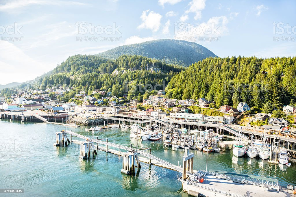 Fishing boats docked in port of Ketchikan, Alaska stock photo