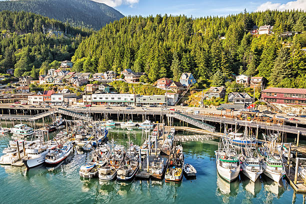 fishing boats docked in port of Ketchikan Fishing boats are docked in the port of Ketchikan, Alaska.  Homes overlook the port. RM ketchikan stock pictures, royalty-free photos & images